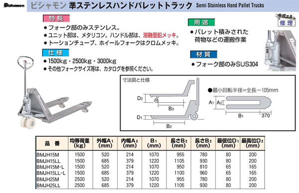 (株)スギヤス ビシャモン 準ステンレスハンドパレットトラック BMJH25LL