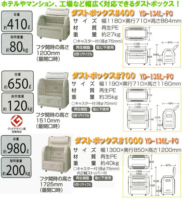 山崎産業 ダストボックス#1000 YD-136L-PC
