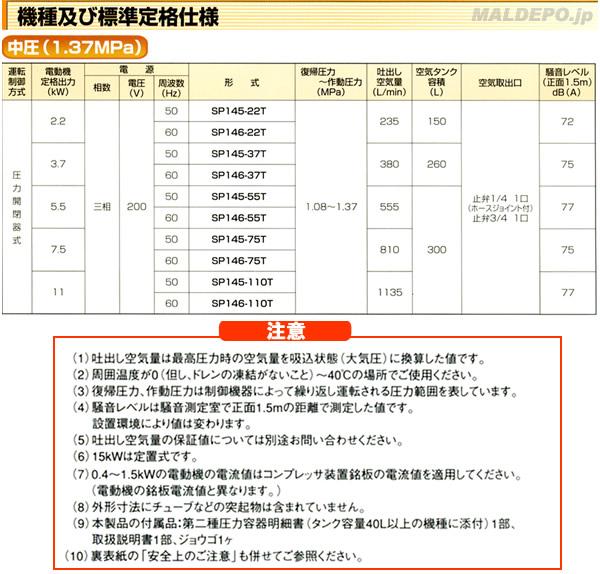 TOSHIBA 給油式 中圧エアーコンプレッサー(圧力開閉器式) SP145-22T