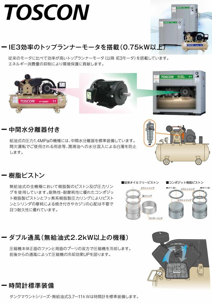 TOSHIBA(東芝) 無給油式 エアーコンプレッサー(圧力開閉器式) VLT105-37T 50Hz