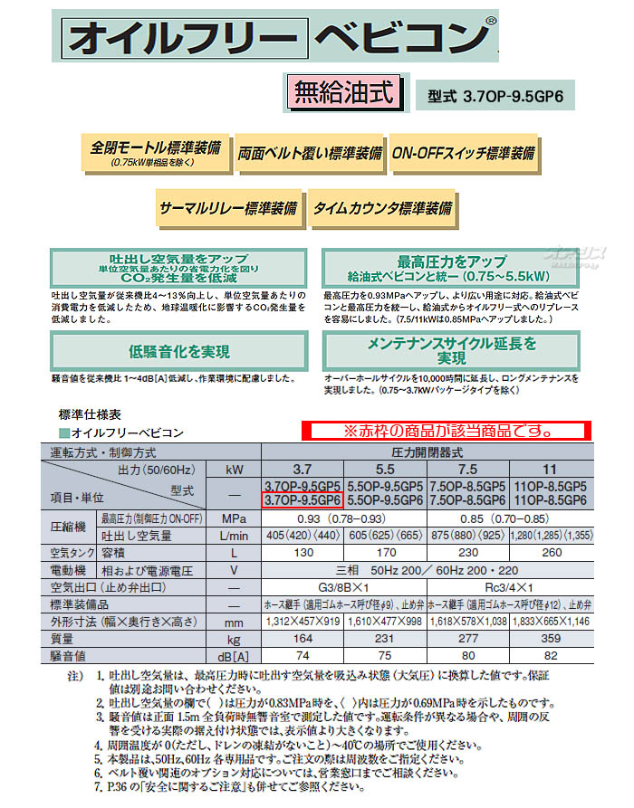 日立 ベビコン エアーコンプレッサー オイルフリー 3.7OP-9.5GP6(60Hz用)