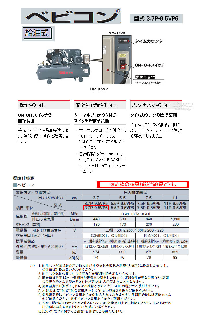 日立 ベビコン エアーコンプレッサー 3.7P-9.5VP6(60Hz用)