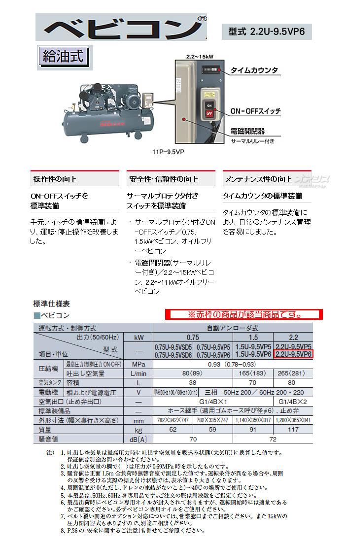 日立 ベビコン エアーコンプレッサー 2.2U-9.5VP6(60Hz用)