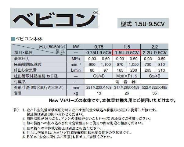 日立 ベビコン エアーコンプレッサー本体 1.5U-9.5CV