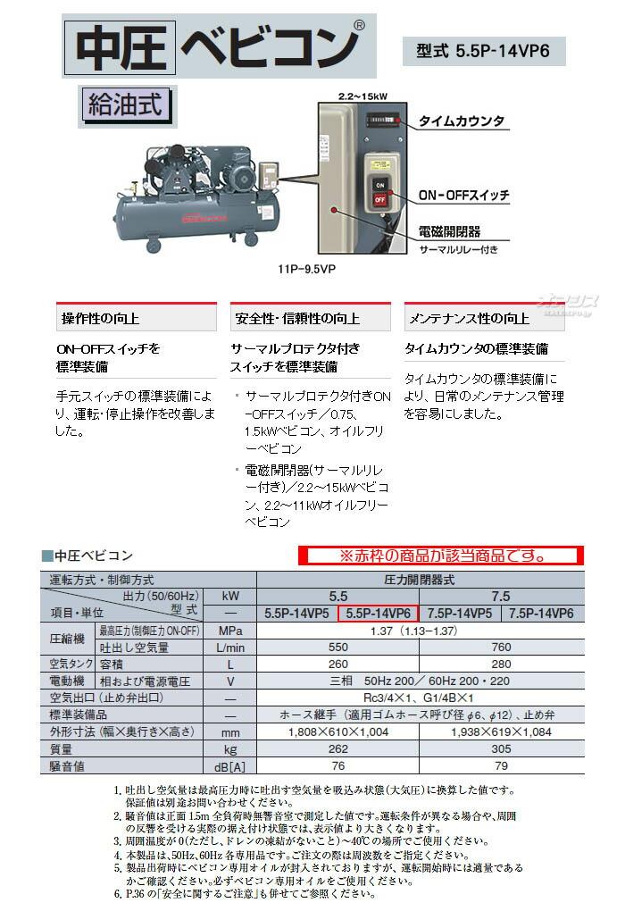 日立 ベビコン エアーコンプレッサー 中圧ベビコン 5.5P-14VP6(60Hz用)