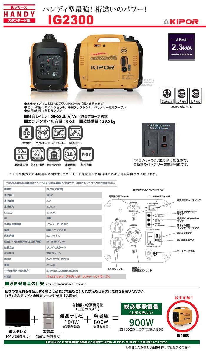 POWERTECH インバーター発電機 IG2300
