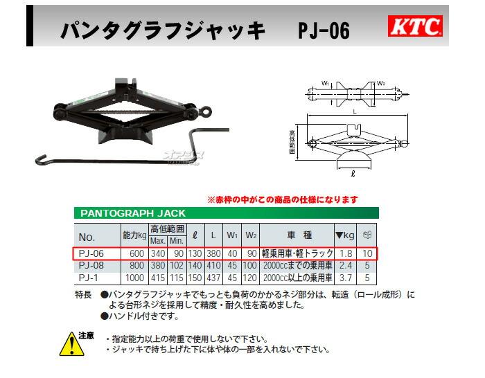 KTC パンタグラフジャッキ 軽自動車・軽トラック用 PJ-06