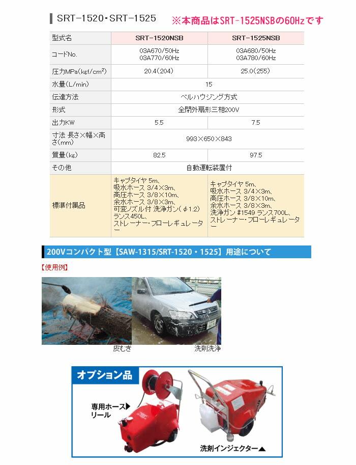 スーパー工業 高圧洗浄機 スーパーエースウォッシャー 三相200V/25Mpa SRT-1525NSB-60Hz【受注生産品】
