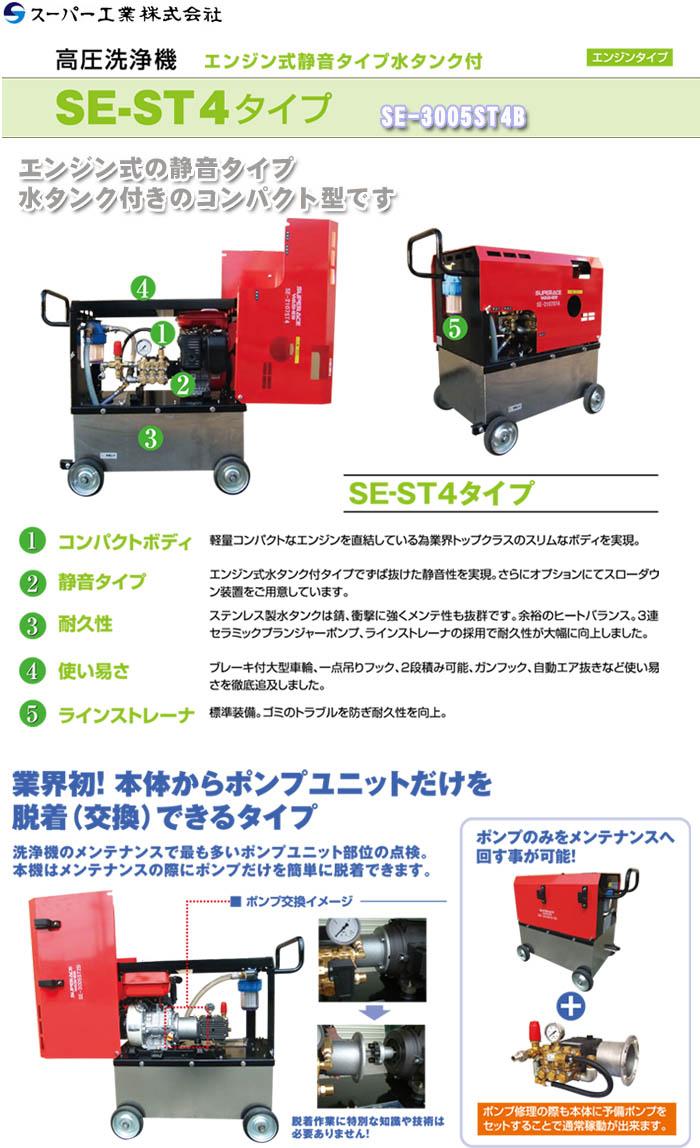 スーパー工業 高圧洗浄機 ポンプユニット交換型 エンジン式/5Mpa SE-3005ST4B【受注生産品】