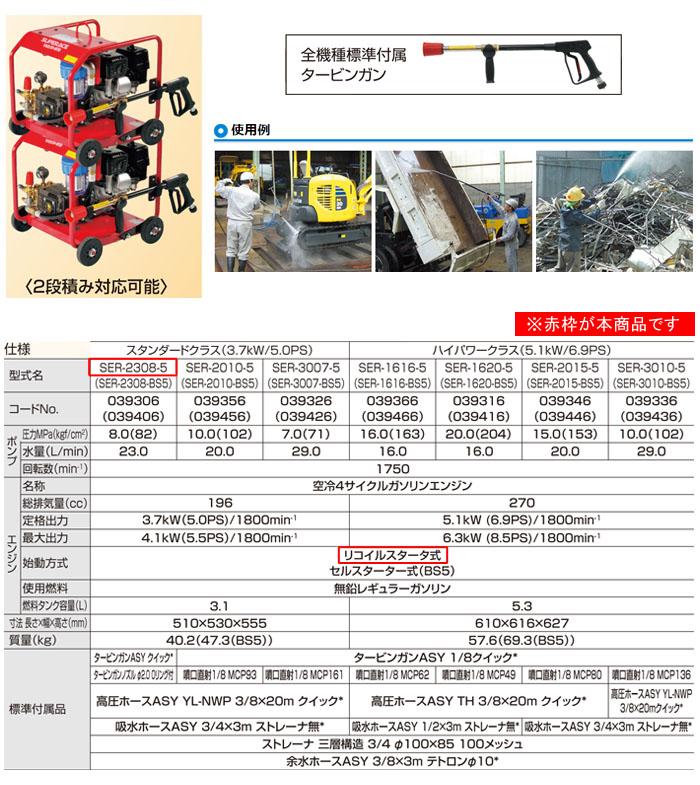 スーパー工業 高圧洗浄機 スーパーエースウォッシャー エンジン式/7Mpa SER-2307-3【受注生産品】