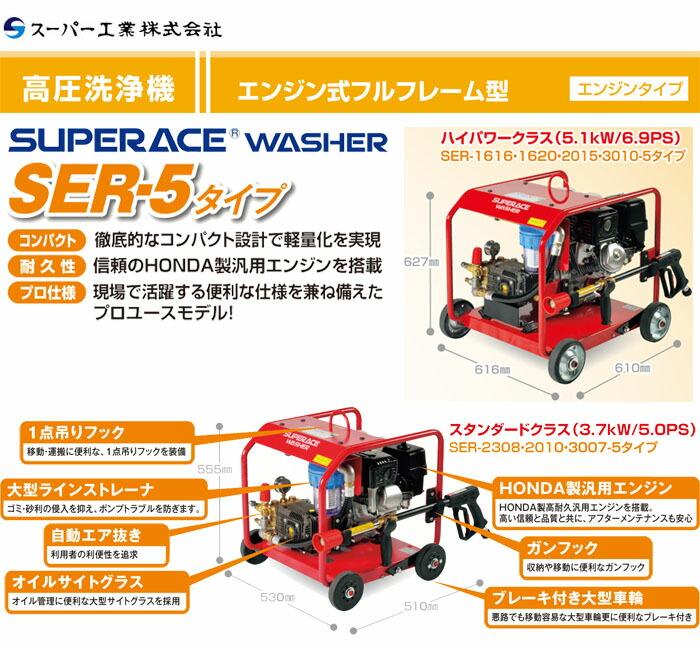 スーパー工業 高圧洗浄機 スーパーエースウォッシャー エンジン式/15Mpa SER-1615-3【受注生産品】