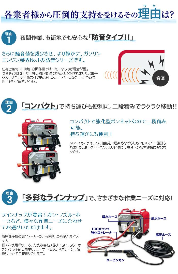 スーパー工業 高圧洗浄機 防音型 スーパーエースウォッシャー エンジン式/20Mpa SEV-1620SS【受注生産品】