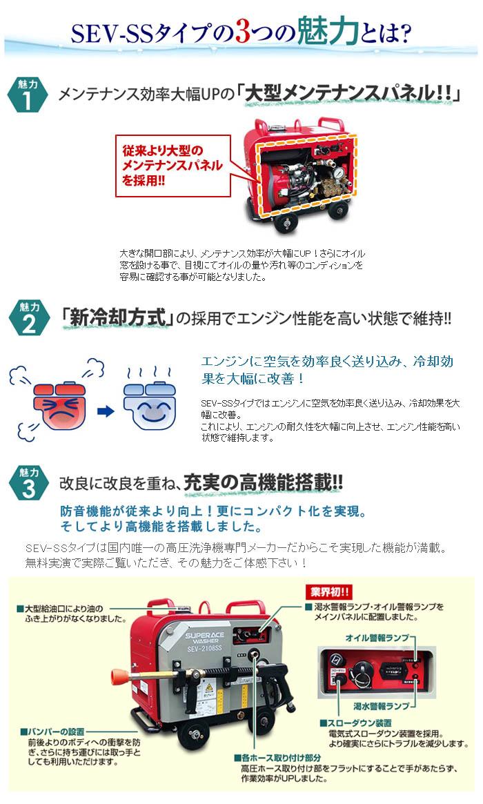 スーパー工業 高圧洗浄機 防音型 スーパーエースウォッシャー エンジン式/10Mpa SEV-2110SS【受注生産品】