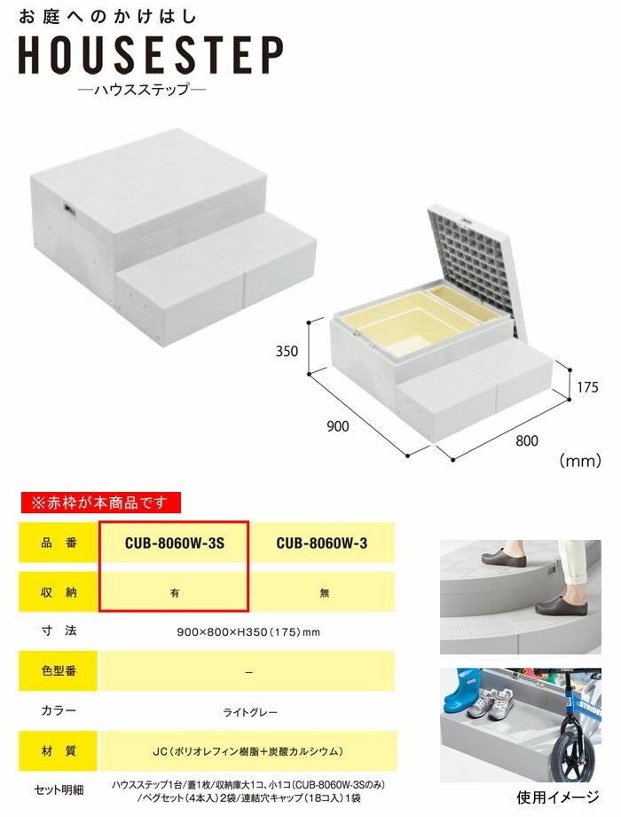 JOTO ハウスステップ Rタイプ CUB-8060W-3S 収納有り 900×800×350(175)mm