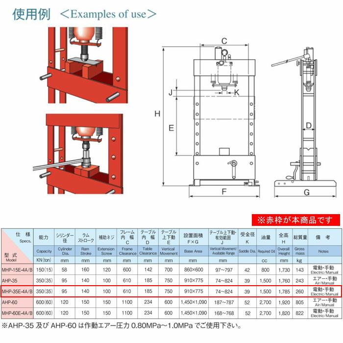 MASADA 電動式門型油圧プレス 35トン 電動+手動型 ボタンスイッチ式 MHP-35E-4B