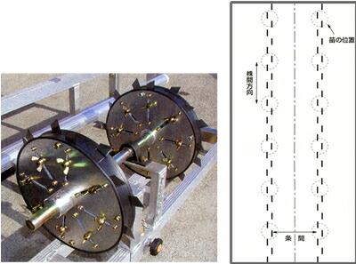 HARAX(ハラックス) いちご用マルチ穴明け機 マルチスリッター NH-2100W 条間幅広対応タイプ マルチ幅210cm以下用【受注生産品】