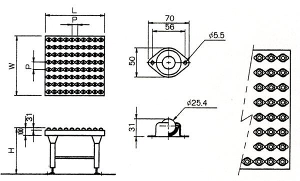 MISUZU(三鈴工機) ボールキャスタ式方向転換機 BCT-0710