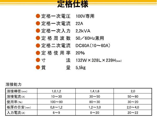 SUZUKID 100V専用直流インバータ溶接機 アイマックス60 SIM-60