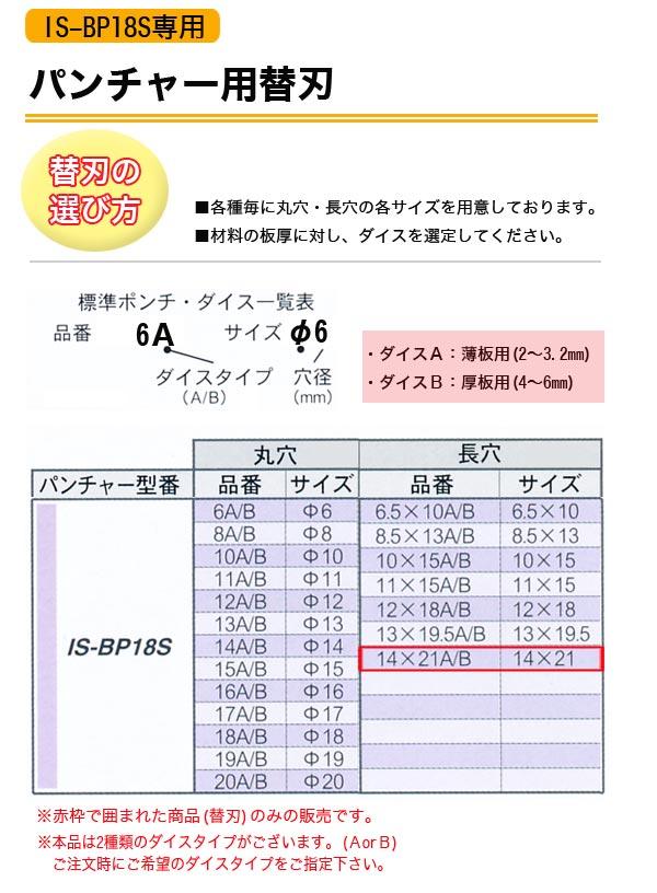 育良精機 パンチャーIS-BP18S専用 長穴替刃 14×21mm