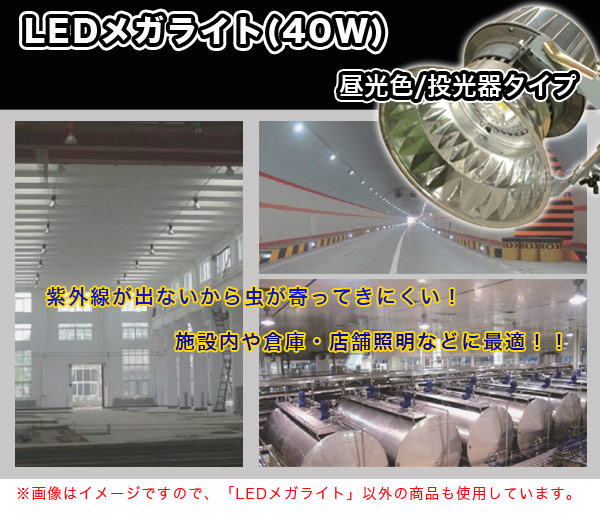 日動工業 LEDメガライト(40W) 投光器・ダイヤモンドカット/昼光色 LEN-40PE/D-5ME
