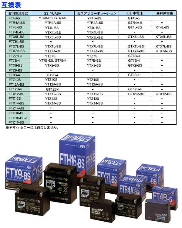 古河電池 二輪車用MFバッテリー FT9B-4
