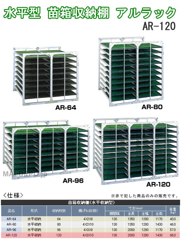 昭和ブリッジ 【受注生産品】【個人宅都度見積り】水平型 苗箱収納棚 アルラック AR-120 4x3x10箱