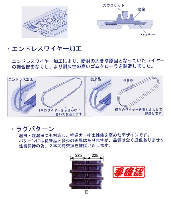 KBL コンバイン用ゴムクローラー 4549NE 450x90x49 パターンE 芯金W【個人宅都度確認】【条件付送料無料】