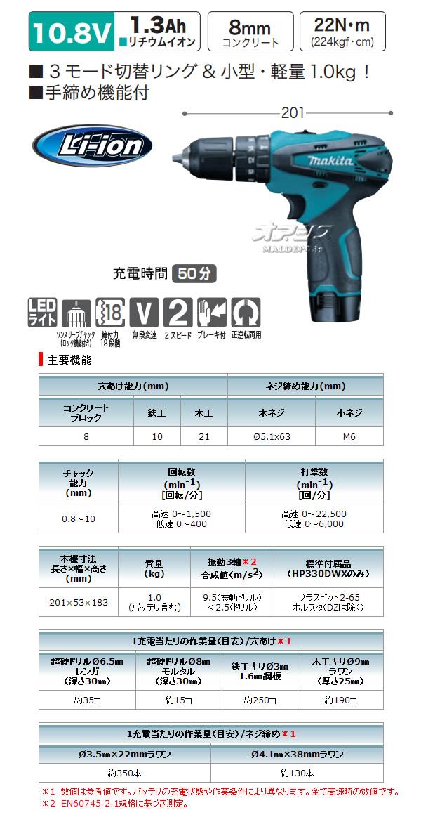 マキタ(makita) 10.8V充電式震動ドライバドリル HP330DZ 本体のみ