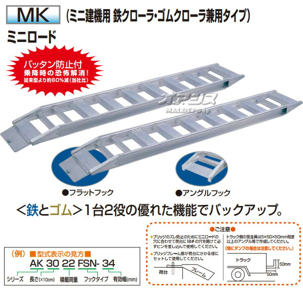 アルコック(鳥居金属興業) ミニ建機用 アルミブリッジ ミニロード MK-3640F(1セット2本) フラットフック【条件付送料無料】