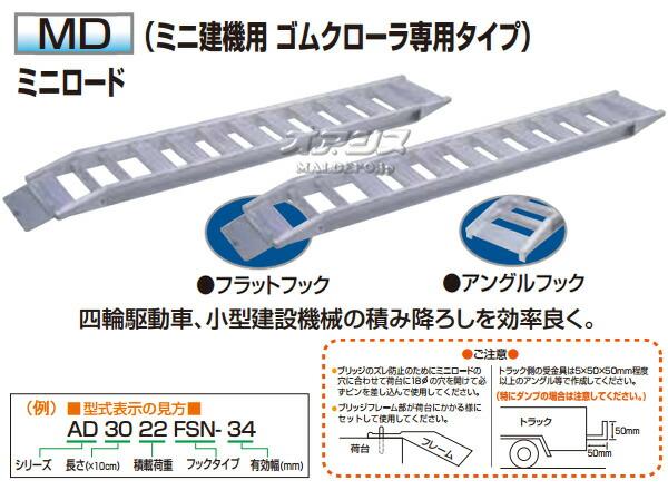 アルコック(鳥居金属興業) ミニ建機用 アルミブリッジ ミニロード MD-3030FS(1セット2本) フラットフック