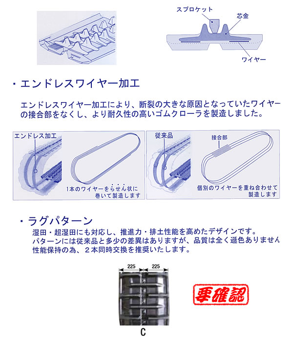 KBL クローラトラクタ用ゴムクローラー クボタ パワクロ対応 4550KP 450x90x50