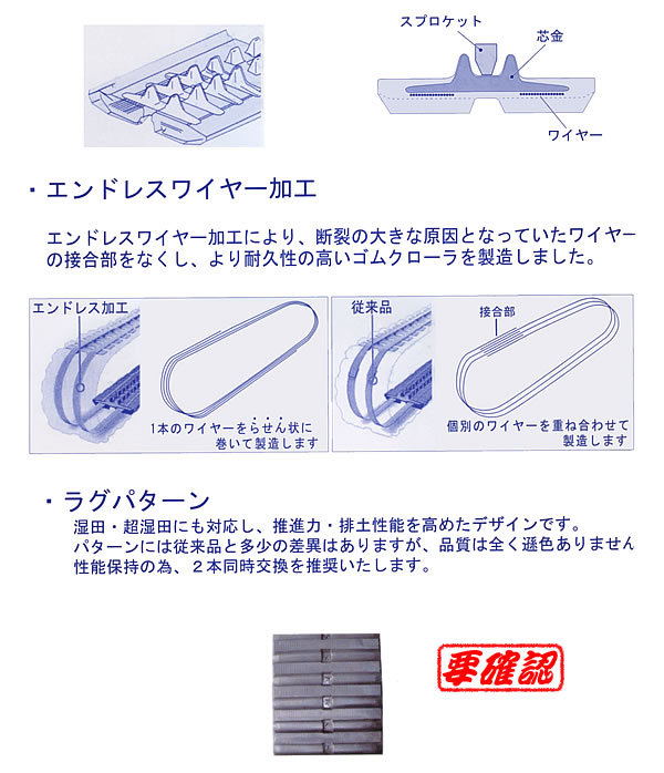 KBL クローラトラクタ用ゴムクローラー モロオカ対応 4542MK 450x150x42【個人宅都度確認】【条件付送料無料】