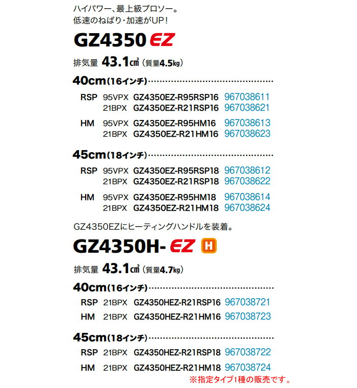 Zenoah(ゼノア) エンジンチェンソー GZ4350EZ-R95HM18 450mm 95VPX 軽量ハードノーズバー(ミィディアムバー)