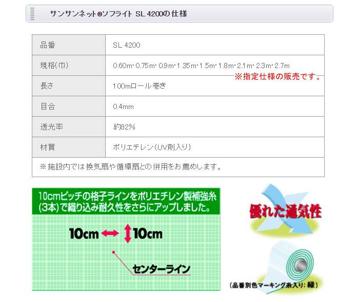 日本ワイドクロス 【個人宅都度見積り】防虫ネット(防虫網) サンサンネット ソフライト SL4200 1.8x100m 目合0.4mm 遮光率82%