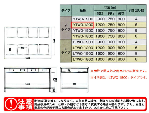 東製作所(azuma) 両面引出し付作業台 YTWO-1200 【個人宅都度見積り】