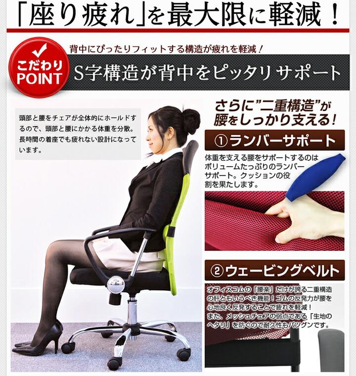 メッシュチェア腰楽ローバック 姿勢矯正効果あり