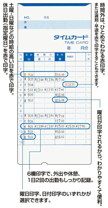 タイムカード印字例