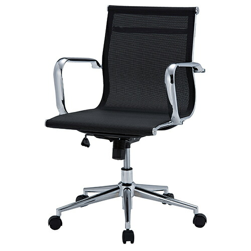 メッシュチェア 幅570 奥行610 高さ820-900(座面高さ400-480)mm ブラック 井上金庫 デスクチェア パソコンチェア オフィスチェア メッシュバックチェア メッシュ チェア 椅子 イス いす 肘付き IK-APS-M01