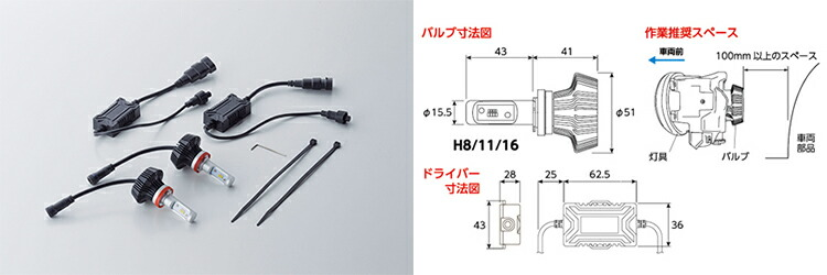 LEDバイカラーフォグバルブ H8 H11 H16