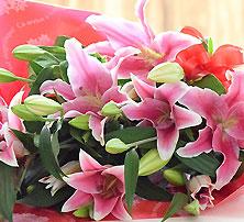 豪華大輪系ピンク百合の花束