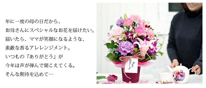 年に一度の母の日だから、お母さんにスペシャルなお花を届けたい。届いたら、ママが笑顔になるような、素敵な香るアレレンジメント。いつもの『ありがとう』が今年は声が弾んで聞こえてくる。そんな期待を込めて…