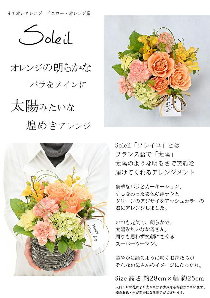 薔薇と母の日のお花カーネーション、華やかな蘭とアジサイでアレンジ。いつも元気で、朗らかで太陽みたいなお母さん。周りも思わず笑顔にさせる、スーパーウーマン。華やかに踊るように咲くお花たちがそんなお母さんのイメージにぴったり。太陽を意味する「ソレイユ」はアッシュな器におしゃれにアレンジしたアレンジメントです。size=高さ約28cm×幅約25cm入荷したお花により大きさが変わる場合がございます