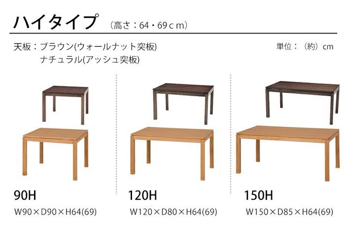 選べるこたつ ハイタイプ 正方形 卓サイズ90×90cm