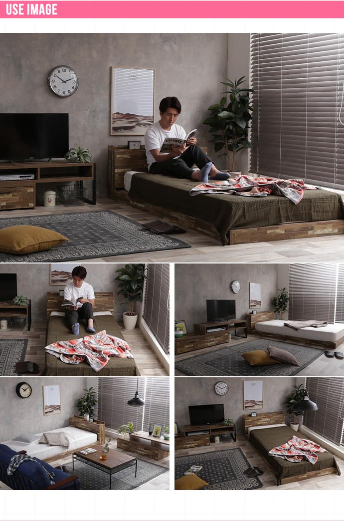 【セミダブル】 Cave 寄木柄ベッド【フレーム+超高密度ハイグレードポケットコイル2点1セット】