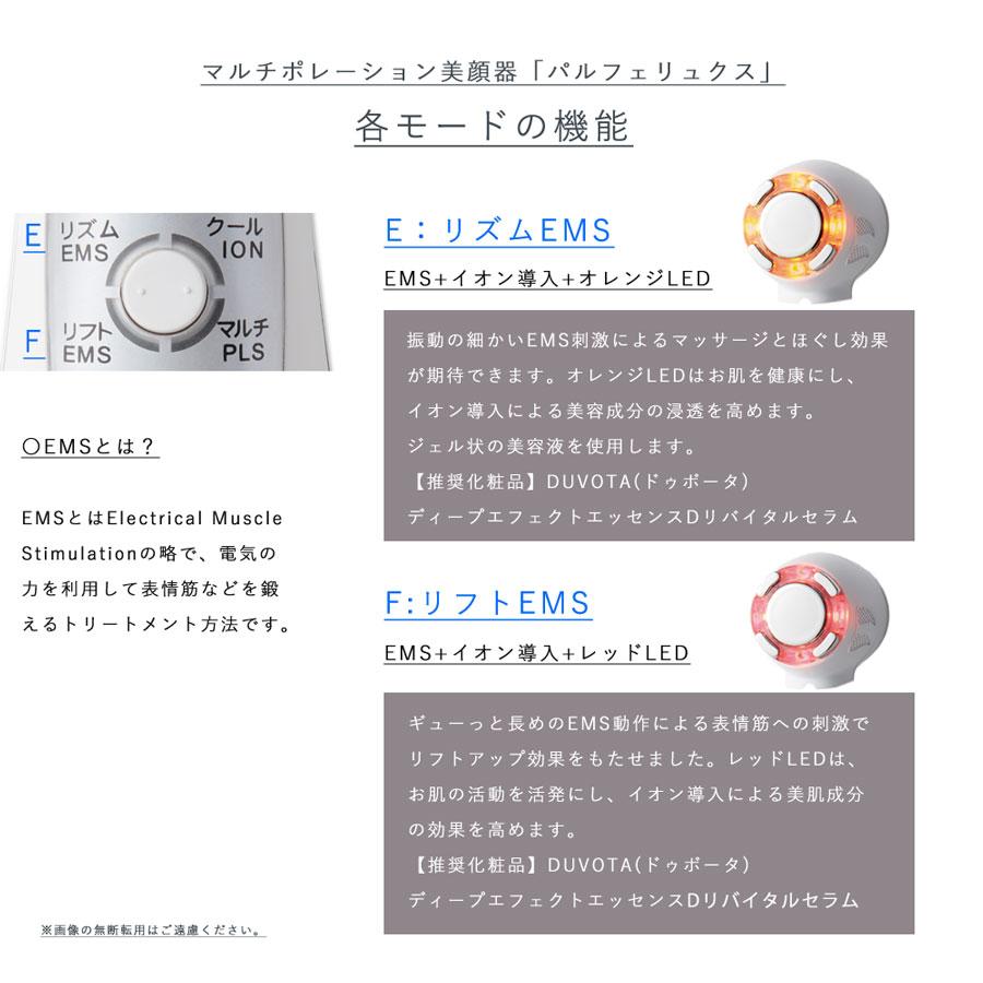 リズムEMSはEMS+イオン導入、オレンジLEDフォトフェイシャルモードリフトEMSはリフトアップEMS、レッドLED