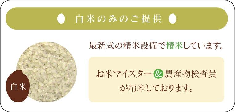白米のみのご提供 お米を3〜4回繰り返し循環させて精米することによりお米に過度な負担をかけず、ヌカに揉まれることにより甘み・旨味を逃がしません。ご注文を受けてから精米いたしますので、より新鮮なお米をお届けできます。