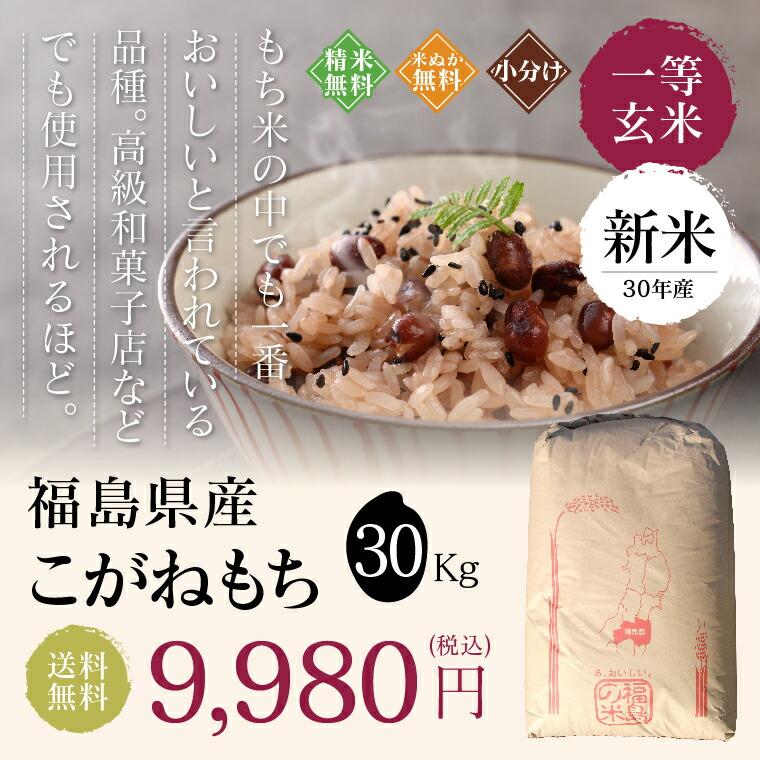 一等玄米 福島こがねもち30kg もち米の中でも一番おいしいと言われている品種