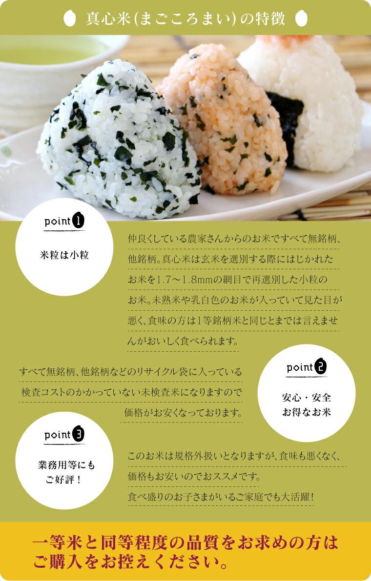 福島のブレンド米。県内のお付き合いさせていただいている農家さんから集めてきたお米です。真心米は玄米を選別する際にはじかれた お米を1.7〜1.8mmの網目で再選別した小粒のお米。未熟米や乳白色のお米が入っていて見た目が 悪く、食味の方は1等銘柄米と同じとまでは言えませんがおいしく食べられます。無名柄、他銘柄などのリサイクル袋に入っており、検査コストのかかっていない未検査米なので価格がお安くなっています。玄米工房で扱っている未検査米は、等級的には概ね1等級〜2等級のものとなります。食べ盛りのお子さまのいるご家庭や業務用などにもご好評です。