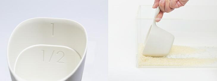 薄縁平で米びつの米が簡単にすくえる。計量が分かりやすい大きなメモリ