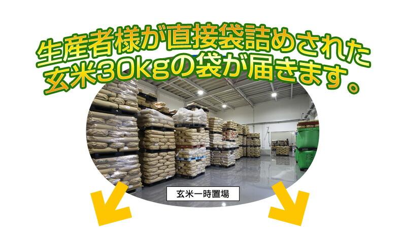 生産者様が直接袋詰めされた玄米30kgの袋が届きます。